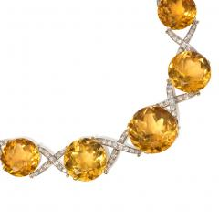 Oversized Retro Graduated Citrine and Diamond X Form Necklace - 2012236