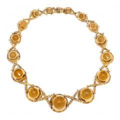Oversized Retro Graduated Citrine and Diamond X Form Necklace - 2012238