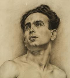 P Bonamini Charcoal Drawing of a Young Man - 1090423