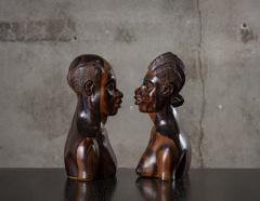PAIR OF AFRICAN IRONWOOD MALE AND FEMALE BUSTS - 1018806