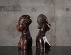 PAIR OF AFRICAN IRONWOOD MALE AND FEMALE BUSTS - 1018808