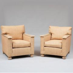 PAIR OF ART DECO LIME OAK AND RAFFIA ARMCHAIRS - 1911319