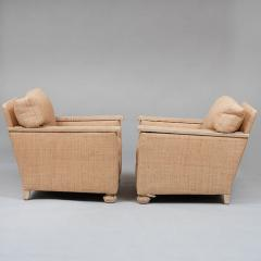 PAIR OF ART DECO LIME OAK AND RAFFIA ARMCHAIRS - 1911396