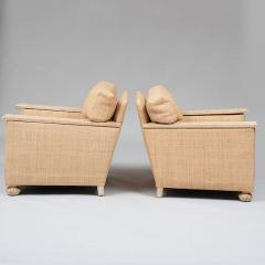 PAIR OF ART DECO LIME OAK AND RAFFIA ARMCHAIRS - 1911397