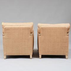PAIR OF ART DECO LIME OAK AND RAFFIA ARMCHAIRS - 1911398