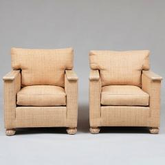 PAIR OF ART DECO LIME OAK AND RAFFIA ARMCHAIRS - 1911400