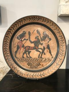 PAIR OF ETRUSCAN STYLE HAND PAINTED TERRACOTTA CHARGERS - 2014085