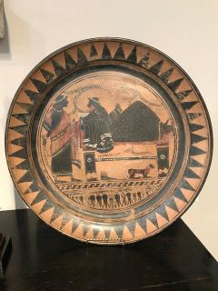 PAIR OF ETRUSCAN STYLE HAND PAINTED TERRACOTTA CHARGERS - 2014086