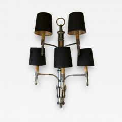 PAIR OF FIVE LIGHTS BAMBOO APPLIQUES WITH BLACK SHADES - 2003890