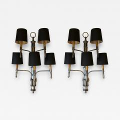 PAIR OF FIVE LIGHTS BAMBOO APPLIQUES WITH BLACK SHADES - 2003892