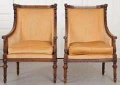 PAIR OF FRENCH 19TH CENTURY LOUIS XVI CARVED WALNUT BERG RES - 697014