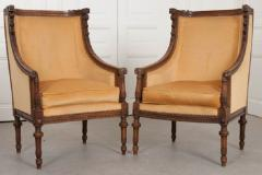 PAIR OF FRENCH 19TH CENTURY LOUIS XVI CARVED WALNUT BERG RES - 697015
