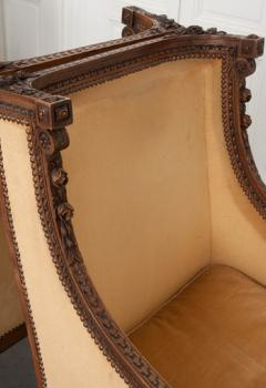 PAIR OF FRENCH 19TH CENTURY LOUIS XVI CARVED WALNUT BERG RES - 697021