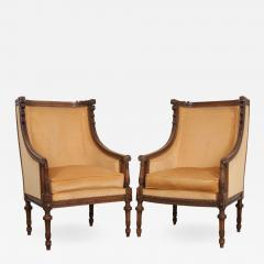 PAIR OF FRENCH 19TH CENTURY LOUIS XVI CARVED WALNUT BERG RES - 698581