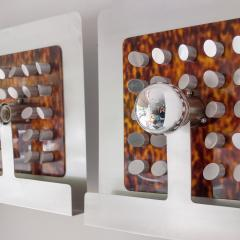 PAIR OF ITALIAN Steel and Faux Tortoise shell DESIGNER SCONCES - 1189678
