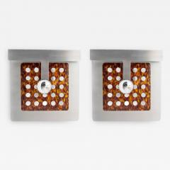 PAIR OF ITALIAN Steel and Faux Tortoise shell DESIGNER SCONCES - 1190002