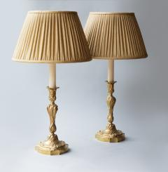 PAIR OF LOUIS XV STYLE ROCOCO CANDLESTICKS CONVERTED TO LAMPS - 1266953