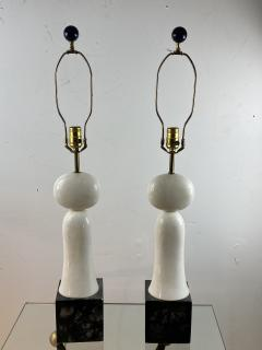 PAIR OF MODERNIST SCULPTED WHITE AND BLACK MARBLE LAMPS - 1204457