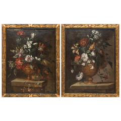 PAIR OF PAINTINGS OF FLOWERS SPANISH SCHOOL 18TH CENTURY - 1271299