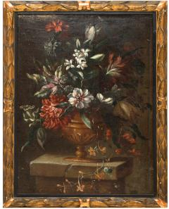 PAIR OF PAINTINGS OF FLOWERS SPANISH SCHOOL 18TH CENTURY - 1271302