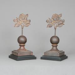 PAIR OF ROSE FENCE FINIALS - 1120421