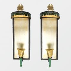 PAIR OF SWEDISH ART DECO SCONCES WITH PATINATED CANOPY  - 1178809