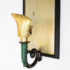PAIR OF SWEDISH ART DECO SCONCES WITH PATINATED CANOPY  - 1178811