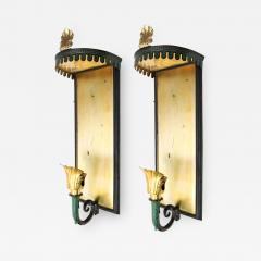PAIR OF SWEDISH ART DECO SCONCES WITH PATINATED CANOPY  - 1179730