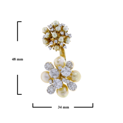 PEARL CLUSTERS OPEN RING WITH MIXED CUT DIAMONDS 18K GOLD - 1933855