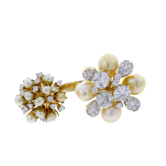 PEARL CLUSTERS OPEN RING WITH MIXED CUT DIAMONDS 18K GOLD - 1933858