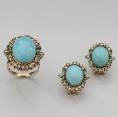 PERSIAN TURQUOISE DIAMOND EMERALD EARRINGS RING - 1519546