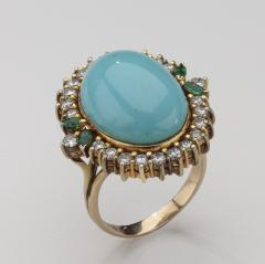 PERSIAN TURQUOISE DIAMOND EMERALD EARRINGS RING - 1519547