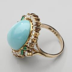 PERSIAN TURQUOISE DIAMOND EMERALD EARRINGS RING - 1519548