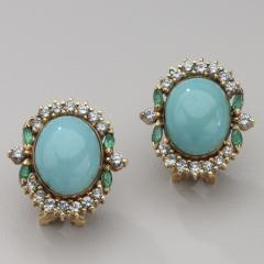 PERSIAN TURQUOISE DIAMOND EMERALD EARRINGS RING - 1519552