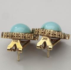 PERSIAN TURQUOISE DIAMOND EMERALD EARRINGS RING - 1519554