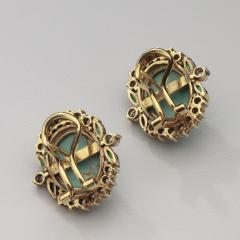 PERSIAN TURQUOISE DIAMOND EMERALD EARRINGS RING - 1519556