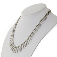 PLATINUM 18K WHITE GOLD 23 CARAT DIAMOND BIB NECKLACE - 2153010