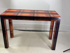 POP ART RESIN LAMINATED COLORFUL PLAID CONSOLE TABLE - 1133490