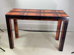 POP ART RESIN LAMINATED COLORFUL PLAID CONSOLE TABLE - 1133491