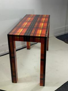 POP ART RESIN LAMINATED COLORFUL PLAID CONSOLE TABLE - 1133494
