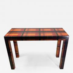 POP ART RESIN LAMINATED COLORFUL PLAID CONSOLE TABLE - 1133760