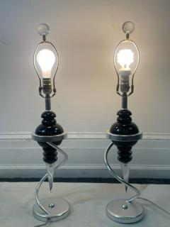 POST MODERN DESIGNER BLACK AND CLEAR LUCITE LAMPS - 2046965