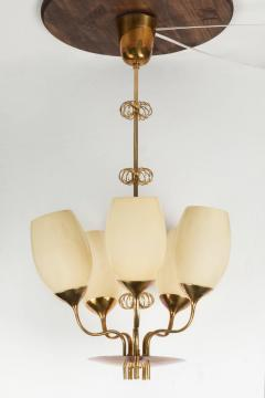 Paavo Tynell 1950s Paavo Tynell Five Glass Chandelier for Taito Oy - 517444