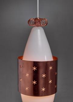Paavo Tynell Paavo Tynell K2 12 Opaline Glass and Copper Pendant for Idman - 1001462