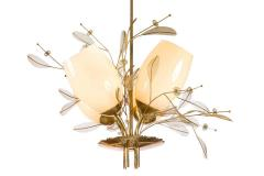 Paavo Tynell Paavo Tynell Model 9029 4 Brass Glass Floral Chandelier for Taito Oy - 1630899