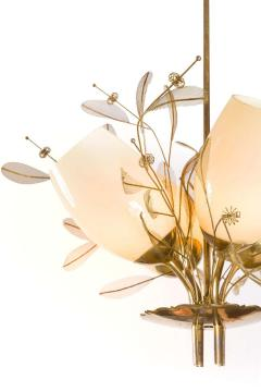 Paavo Tynell Paavo Tynell Model 9029 4 Brass Glass Floral Chandelier for Taito Oy - 1630902