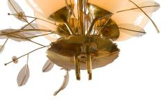 Paavo Tynell Paavo Tynell Model 9029 4 Brass Glass Floral Chandelier for Taito Oy - 1630904