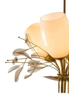 Paavo Tynell Paavo Tynell Model 9029 4 Brass Glass Floral Chandelier for Taito Oy - 1630905