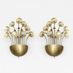 Paavo Tynell Pair of Floral 9 Light Sconces in the Style of Paavo Tynell - 1530385