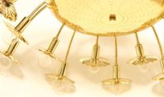 Paavo Tynell Style 24 Light Pierced Brass Ceiling Fixture - 1071616